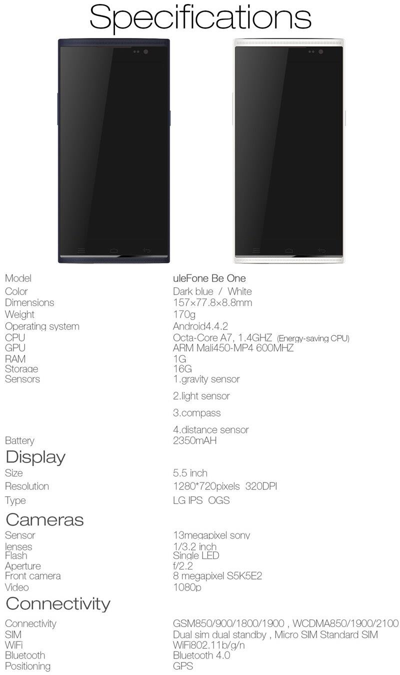 Ulefone Specifications